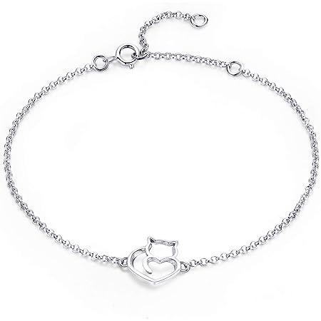 NewL Pulsera y brazaletes de plata de ley 925 con eslabones de gato y corazón para mujer, auténtica joyería de plata de ley