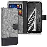 kwmobile Hülle kompatibel mit LG K40 - Kunstleder Wallet Hülle mit Kartenfächern Stand in Grau Schwarz