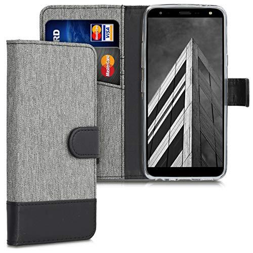 kwmobile Wallet Hülle kompatibel mit LG K40 - Hülle Kunstleder mit Kartenfächern Stand in Grau Schwarz