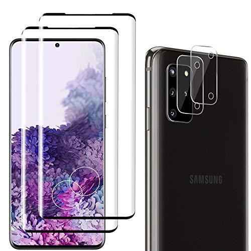 Carantee Panzerglas für Samsung Galaxy S20 Plus, Blasenfrei, 3D Volle Bedeckung, Ultra-HD, Fingerabdruck-ID unterstützen, 9H Härte Displayschutz, 2 Schutzfolie + 2 Kamera Panzerglasfolie