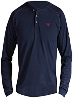 Xx-Large Ariat 10013519-XXL Flame Resistant Long Sleeve Work Henley Top Volume Grey Cotton Blend Capacity