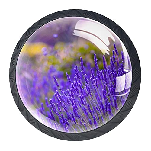 Pomos de cocina de resina ABS con diseño de flores de lavanda, morado violeta, paquete de 4 unidades, tiradores de gabinete de cocina, tiradores de cajones y pomos de puerta de gabinete