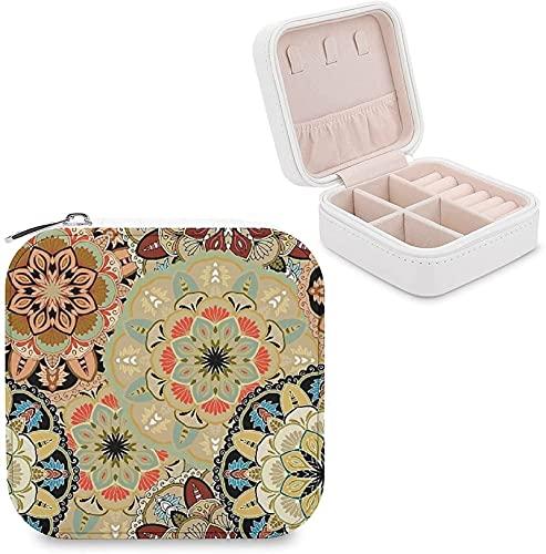 CHENWE Organizador de joyas para viajes, diseño vintage, mandalas, flores, organizador de joyas, mini estuche de almacenamiento de joyas portátil, perfecto para mujeres