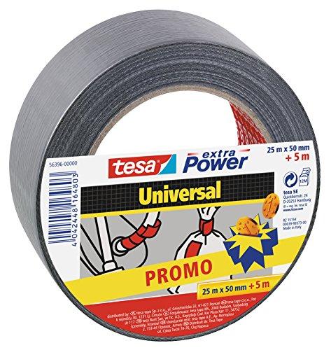 tesa 56396-00000-00 Extra Power Universal Promo 25m x 50mm + 5 Metros Gratis, plata