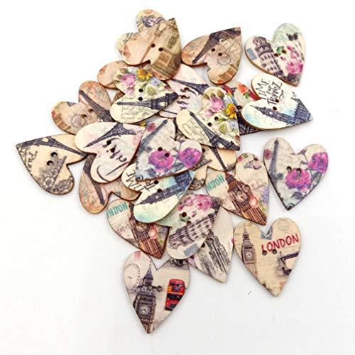 Healifty 50pcs Wooden Craft Buttons Cartoon Eiffel Tower Buttons 2 Holes Heart Buttons for Sewing Crafts Scrapbooking 25mm