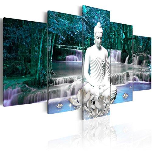 murando Quadro Buddha 200x100 cm 5 pezzi Stampa su tela in TNT XXL Immagini moderni Murale Fotografia Grafica Decorazione da parete Natura Paesaggio Cascata Albero Bosco Foresta h-C-0048-b-o