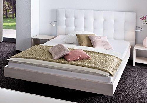 Preisvergleich Produktbild HASENA Bett Wood Line Buche weiß Wandpaneel Sogno 160x200