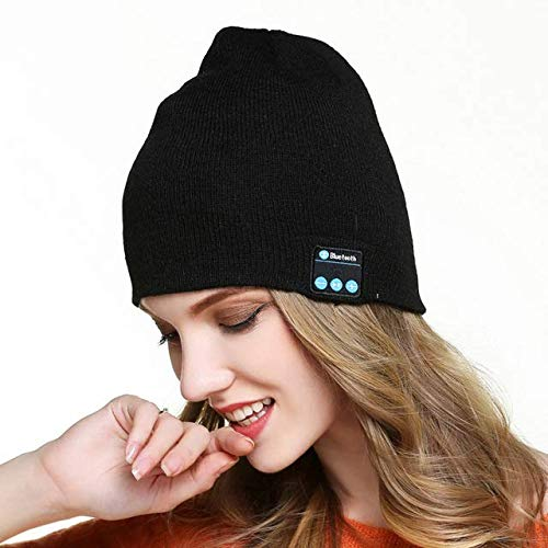 Bluetooth Beanie Hat, Bluetooth 5.0 Sombrero Lavable Auricularesde Punto, de Música micrófono Incorporado and Altavoces inalámbricos Recargable,Apto para Woman & Man