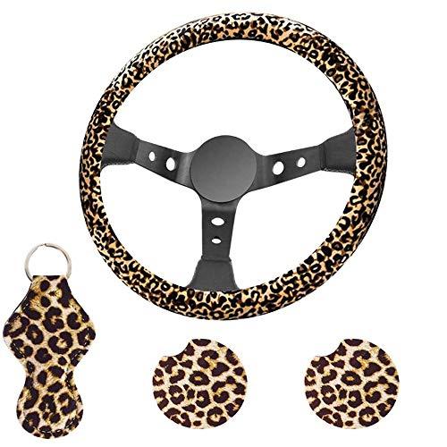 MiOYOOW Auto Lenkradhüllen, Lenkradverpackung mit Leopardenmuster und Schlüsselbund sowie 2 Cup Coasters für Autos