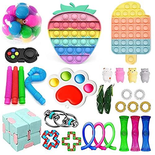 30 Pack Sensory Fidget Toys Set, Relieves Stress and Anxiety Kits for Kids Adults, Gifts for Birthday Party Favors, Christmas Stocking Stuffers, School Classroom Rewards, Carnival Prizes (Set 8)