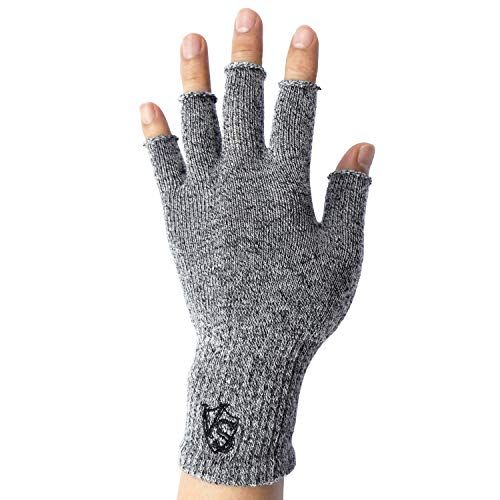 Vital Salveo -Stretchy Unisex Half Finger Texting Circulation Fingerless Recovery Gloves (Pair)-XL-Light Grey