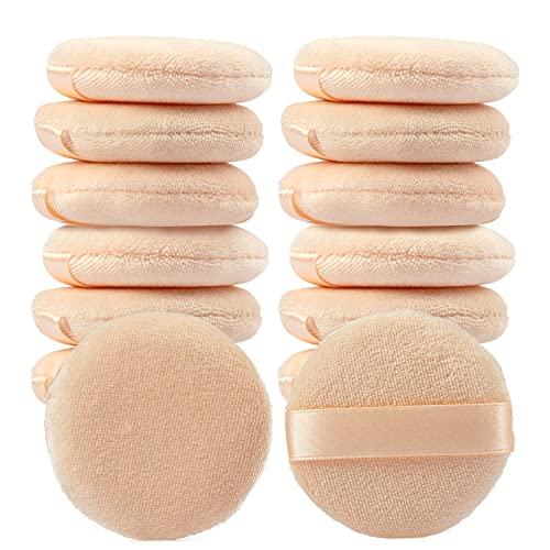 YASUOA Lot de 20 houppettes à poudre en pur coton pour fond de teint - Éponge douce en fourrure - Outil de maquillage avec ruban - Pour le visage, le corps, la poudre - Soin de la peau - 7 cm/8 cm