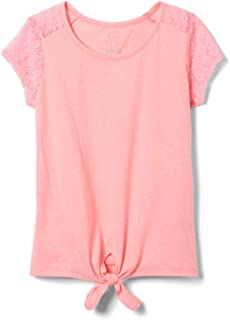 Girls' Short Sleeve Tie-Front Lace Shoulder T-Shirt