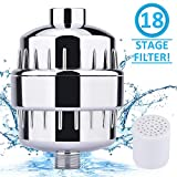 Duschfilter, BASEIN 18-Stufiger Wasserfilter Weichmacher Duschkopf Wasserfilter, Einschließlich 1 Austauschbarer Filterpatronen, Chromgehäuse, Teflonband und 6 Scheibenringen