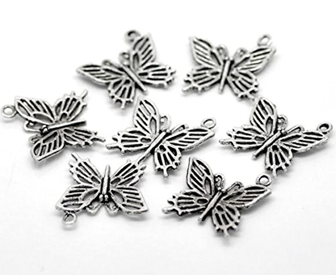 PEPPERLONELY Brand 50PC Antique Silver Butterfly Charms Pendants 20mmx20mm