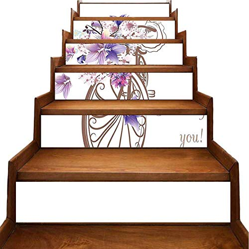 3D Colorful Stair Stickers with Basket of Flowers Vintage Spring Time Artwork Image Umber Lavander and Light Simple Fashion Home Stairway Stickers Refurbished Stair Treads, W39.3 x H7 inch