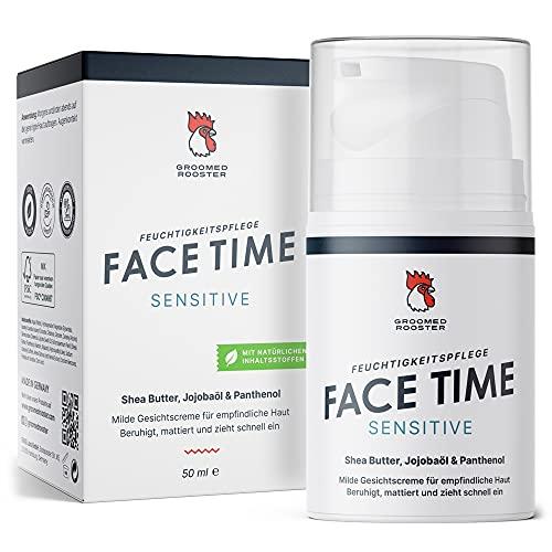 Natürliche Gesichtscreme für Männer 'Face Time Sensitive' Gesichtspflege für empfindliche, sensible und trockene Haut, vegane Hautcreme, 50ml, von Groomed Rooster – MADE IN GERMANY