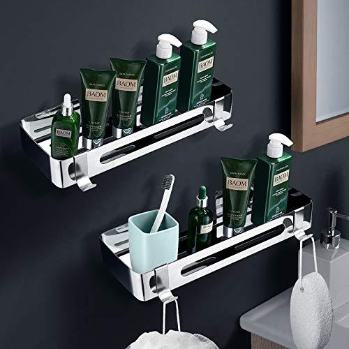 ZOYJITU Duschablage Ohne Bohren Duschkorb Selbstklebend Duschregal aus Edelstahl für Badezimmer,mit 2 Haken Badregal Ablage Dusche für Bad 2 Stück (Silver)