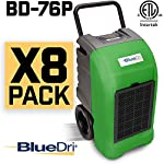 BlueDri BD-76 Water Damage Equipment Industrial Commercial Grade Large Dehumidifier for Home, Basements, Garages, and Job Sites - 76 AHAM/150 Saturation PPD, Pack of 8, Green 6 150 PINT DEHUMIDIFIERS - Ideal for water damage restoration projects of up to 150 pints per day at saturation (90ºF 90%RH)/76 PPD at AHAM (80ºF 60%RH), removing more water per day than normal 70 pint capacity dehumidifiers. CONVENIENT - This dehumidifier is packed with built in automatic water pump, digital panel, compact electrical control with auto restart, hour counter, RH and temperature sensors, drain hose, so you can get any job site done with just a few buttons. COMMERCIAL AND INDUSTRIAL USE - Designed to withstand the rigors of the toughest spaces, the BD-76 can go into construction zones and buildings damaged by flooding and other water accidents and work hard overnight or continuous for days at a time.