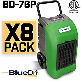BlueDri BD-76 Water Damage Equipment Industrial Commercial Grade Large Dehumidifier for Home, Basements, Garages, and… 2 150 PINT DEHUMIDIFIERS - Ideal for water damage restoration projects of up to 150 pints per day at saturation (90ºF 90%RH)/76 PPD at AHAM (80ºF 60%RH), removing more water per day than normal 70 pint capacity dehumidifiers. CONVENIENT - This dehumidifier is packed with built in automatic water pump, digital panel, compact electrical control with auto restart, hour counter, RH and temperature sensors, drain hose, so you can get any job site done with just a few buttons. COMMERCIAL AND INDUSTRIAL USE - Designed to withstand the rigors of the toughest spaces, the BD-76 can go into construction zones and buildings damaged by flooding and other water accidents and work hard overnight or continuous for days at a time.