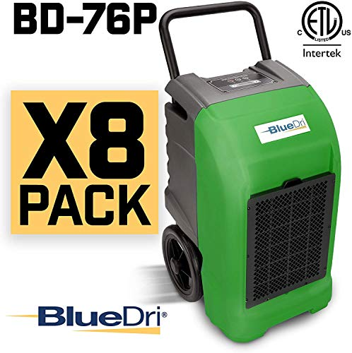 Buy BlueDri BD-76 Water Damage Equipment Industrial Commercial Grade Large Dehumidifier for Home, Basements, Garages, and Job Sites – 76 AHAM/150 Saturation PPD, Pack of 8, Green