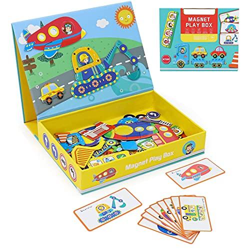 Puzzle Infantiles para Niños 3+ Años Pizarra Magnetica Infantil Juguetes de Madera Montessori Magneticos Rompecabezas de Coches Juegos Educativos Regalos para Niños Niñas 3 4 5 6 Años