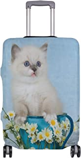 Mydaily Ragdoll Kitten Cat In Cup Luggage Cover Fits 18-32 Inch Suitcase Spandex Travel Baggage Protector