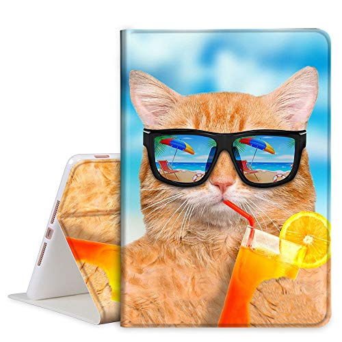 TOMYOU iPad 7th Generation case [10.2 Inch 2019] Slim Stand PU Leather Soft Back Shell, Protective Smart Cover for Apple iPad 7th Gen 10.2' (A2197 A2198 A2200) - Hawaii Cat
