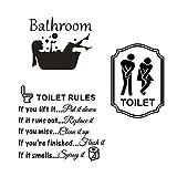 3pcs Vinilos Aseo Lavabo Baño Bathroom Pegatinas Sticker WC Frases Ingles Toilet Rules Signo Baño Puerta Toilet Hombre Mujer Adhesivos Pegatinas Pared Decorativos