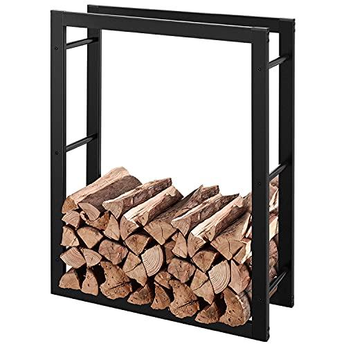 RANSENERS Brennholzregal 110x27x150cm (LxBxH) Schwarz, Metall Feuerholzregal Kaminholzregal Stapelhilfe Aussen und Innen