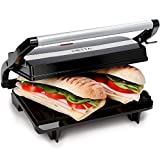 NETTA Panini/Sandwich Press - 2 Slice Sandwich Toaster - 700W - Toastie Maker - Electric Health Grill - Non-Stick Plates - Stainless Steel - Easy to Clean