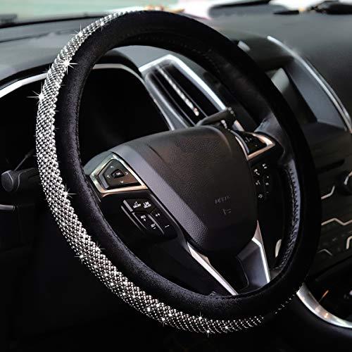 Crystal Diamond Steering Wheel Cover, U&M Bling Bling Soft Velvet Non-Slip Women Steering Wheel Protector Available for 15 inch,Black