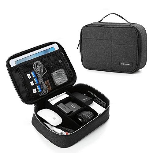 BAGSMART Electronics Travel Organizer Bag for Adaptors, Chargers, iPhone, ipad air, ipad Mini, 9.7'' Ipad Pro, Kindle, Black