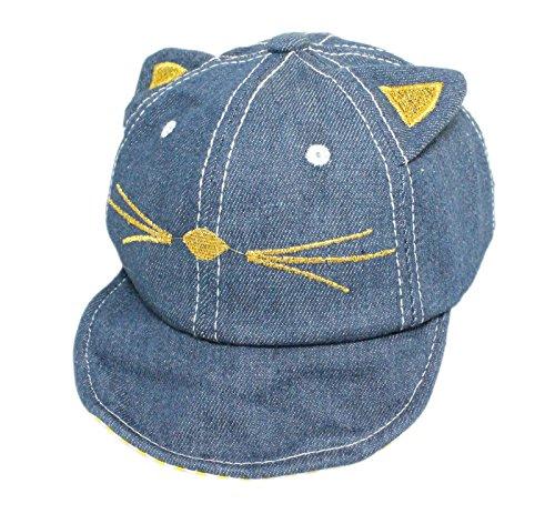 Gorra de béisbol de algodón con diseño de gato bordado, color azul