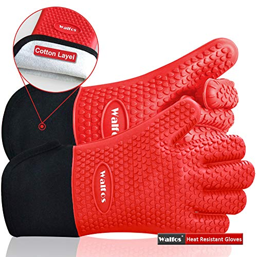 Walfos BBQ Grilling Gloves Best Versatile Heat Resistant Grill Gloves Silicone Oven Mitts Thick Long Waterproof NonSlip Potholder for Barbecue Cooking BakingFull Finger Wrist Protection Red
