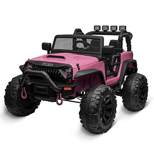 Kidzone Kids 12V9AH Battery Powered Extra Wide Seat Ride On Truck DIY License Plate, Off Road Big Wheels, Front Bumper, LED Light, Remote Control, Bluetooth Music, 2 Speeds - Light Pink