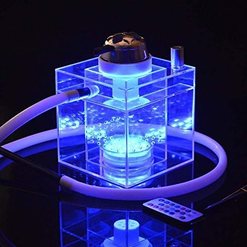 Kumiy 6x6 Zoll Bunte LED Acryl Shisha Mit 1 Schlauch, Arabisches Shisha Fernbedienungsset, Premium Shisha Räucherset Mit Licht