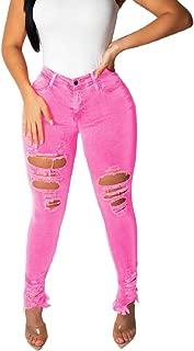 Womens Ripped Hole Distressed Jeans Slim Fit Fashion Denim Pants