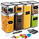 Airtight Food Storage Containers, MOICO 7 PC Plastic Cereal Storage Container with Lids BP...