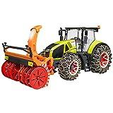 BRUDER - 03017 - Tracteur CLAAS Axion 950 vert avaec chaînes et souffleuse à neige