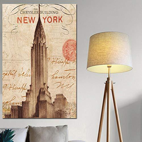 Wieoc Nueva York París Torre Eiffel Pinturas Romanas De Lienzo Atracciones Turísticas Famosas del Mundo Imágenes De Arte De Pared para Decoración del Hogar 60X90Cm