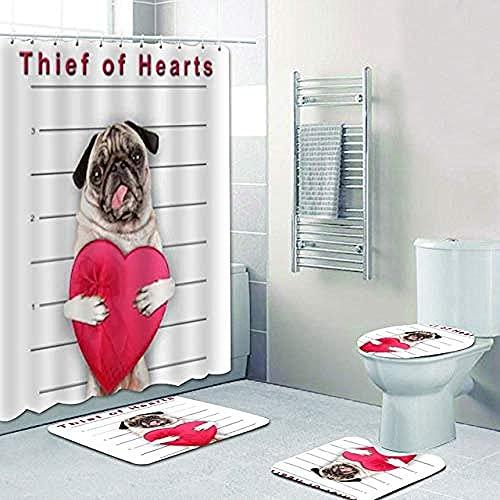 AETTP Lustige Mops Hunde Dekoration Bad Dog Dieb des Herzens Mops Hund Duschvorhang Badezimmer Vorhang wasserdichte Badematten Teppiche Teppich Dekor 180x180cm