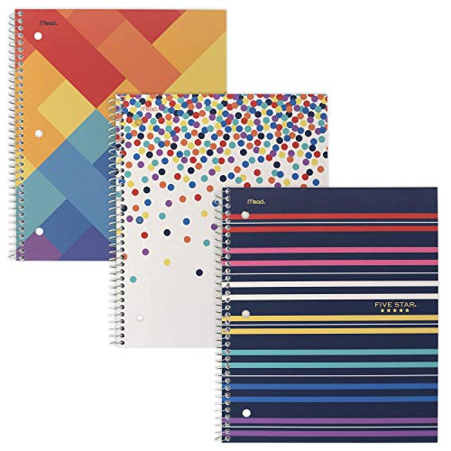 """Five Star Spiral Notebooks, 1 Subject, College Ruled, 11"""" x 8-1/2"""", Cute Designs Bright Colors, 3 Pack (51180)"""