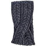 Aran Woollen Mills Super Soft Merino Wool Crossover Headband, Dark Grey Colour