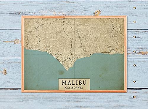 MG global - Póster rústico con diseño de mapa de Malibu...
