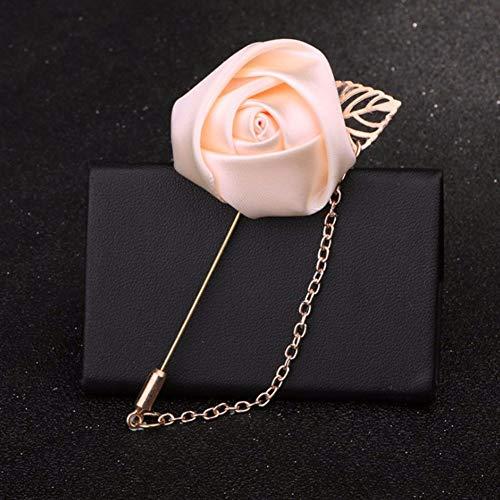THTHT Heren pak Rose Bloem Broches Pins Canvas Stof Lint Broche voor Vrouwen En Mannen Kleding Jurk Accessoires beige
