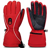 Smilodon Heated Gloves Men Women Rechargeable Battery Electric Heating Glove for Motorcycle Riding Ski Snowboarding Arthritis Raynaud Hands, S14 (Red, L)