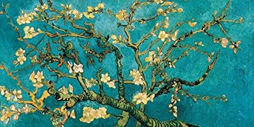 Vincent Van Gogh Almendro en flor 100x 50cm cuadro impresión sobre panel de madera DM bordo negro
