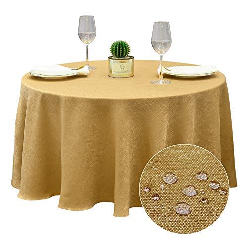 BALCONY & FALCON Tischdecke Abwaschbar Tischtuch Leinenoptik Tischdecke Glänzend Tischwäsche Wasserabweisend Tischtücher Lotuseffekt Rund Tischdecke Gold 180cm