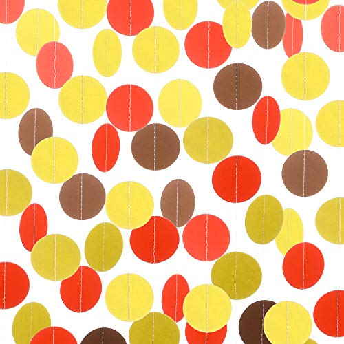 40 Feet Thanksgiving Decoration Yellow Orange Brown Paper Dots Garland Hanging Supplies for Fall Autumn Thanksgiving Day Wedding Classroom Party Baby Shower Decorations
